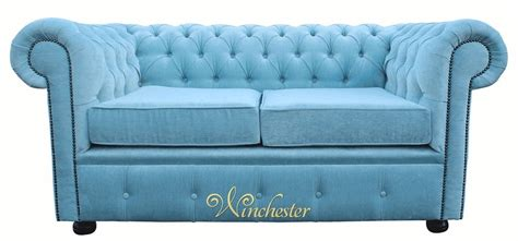 duck egg blue leather sofa chesterfield 2 seater settee velluto duck egg fabric sofa