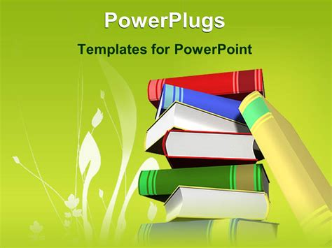 Powerpoint Template Stack Of Books With Green Background Powerplugs For Powerpoint