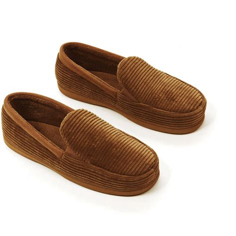 house shoes walmart dearfoams men s cord moccasin slippers walmart com