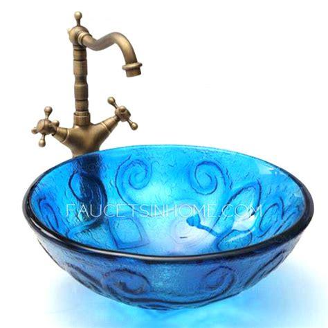 vessel style bathroom sinks blue glass vessel sinks for bathrooms mediterranean style
