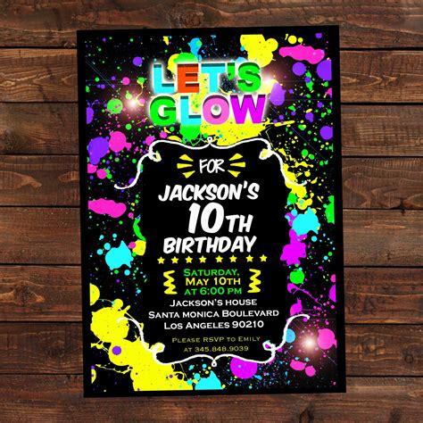 Glow In The Dark Invitations Diy Glow Party Invitations Neon Invitations Templates Free
