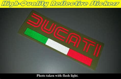 Ducati Reflective Sticker by Ducati Italy Flag Logo Motorcycle Decal Reflective Sticker