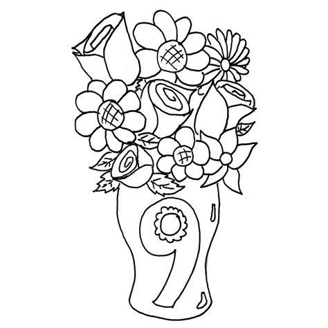 imagenes de flores sin pintar dibujos de floreros con flores para colorear