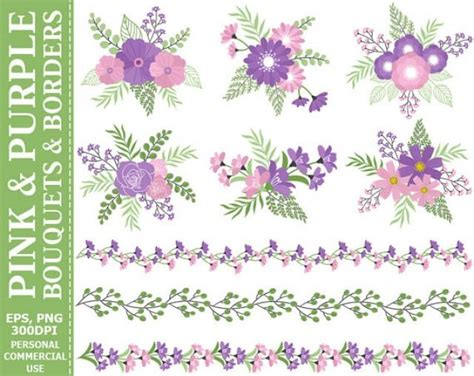 Soft Bordir Flower 2 buy 2 get 1 free pink and purple bouquets borders clip