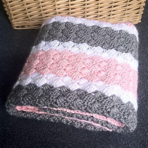 white pattern blanket crochet girl baby blanket hand made pink grey and white