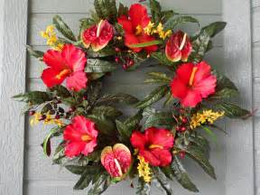 Red Anthurium Flowers - tropical wreath in bright red hibiscus and