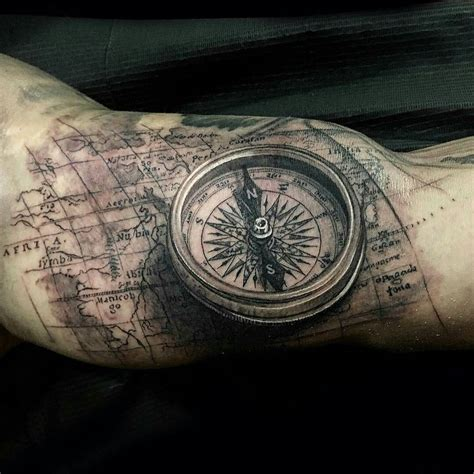 map and compass tattoo compass map by jptattoos at renaissance studios