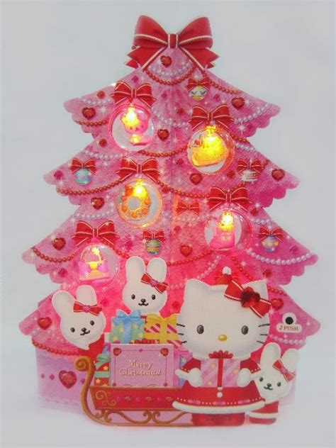Cards With Lights - hello pink tree lights melody pop up