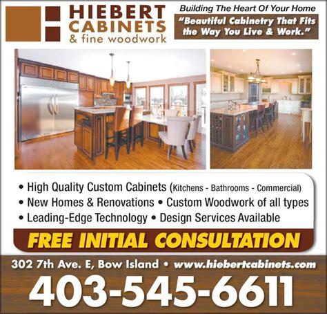 kitchen cabinet advertisement hiebert cabinets fine woodwork opening hours 302 7