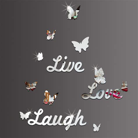 live laugh wall stickers live laugh butterfly diy quotes characters mirror