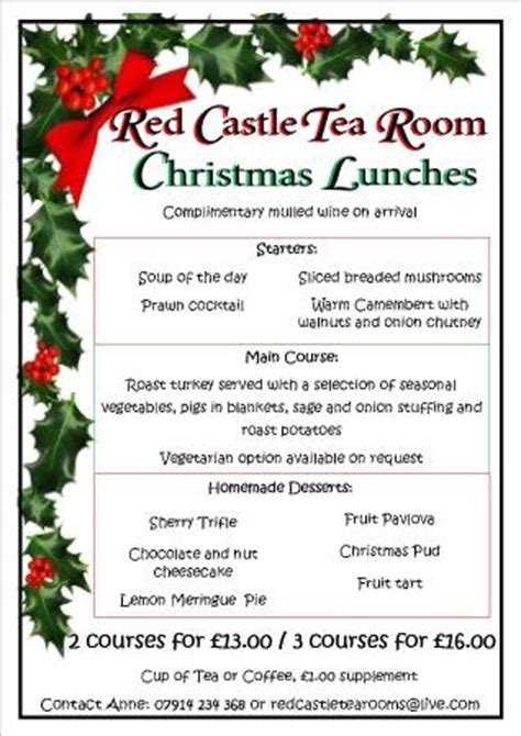 christmas menu ideas christmas lunch menu 2015 picture of red castle tea room