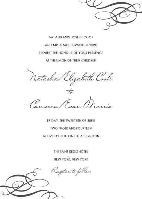 wedding invitation text template corner swirl wedding invitation