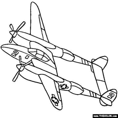 lockheed p 38 lightning wwii airplane coloring planes