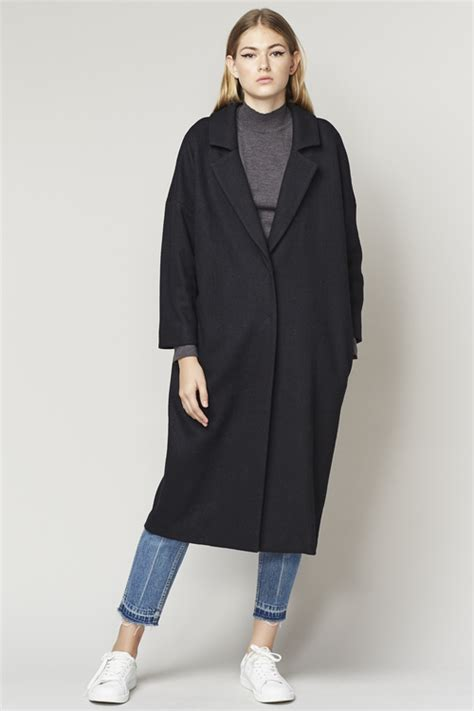DROPPED SHOULDER OVERSIZED LONG COAT   BLACK from E:CLE   Garmentory