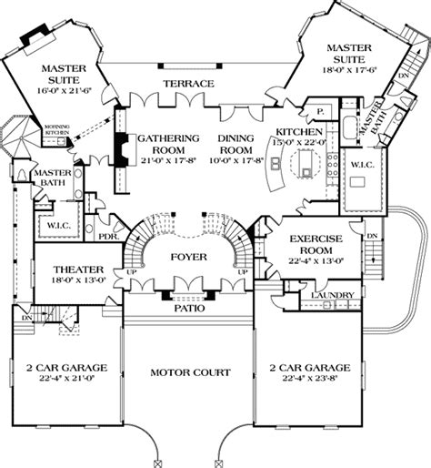 house plans with 2 master suites on floor dual master suites 17647lv 1st floor master suite butler walk in pantry corner lot den