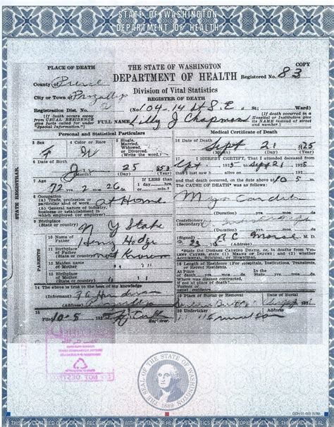 Washington State Birth Records Picture