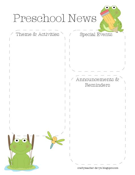 the crafty teacher frog preschool newsletter template