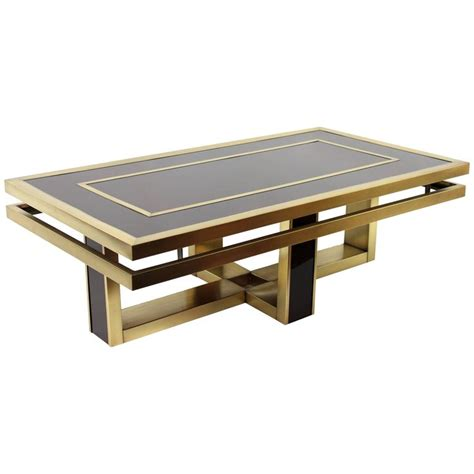italian 1960s brown glass and brass coffee table in the