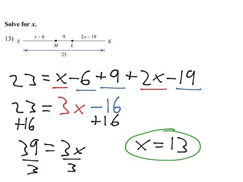 segment addition postulate and solving for x math