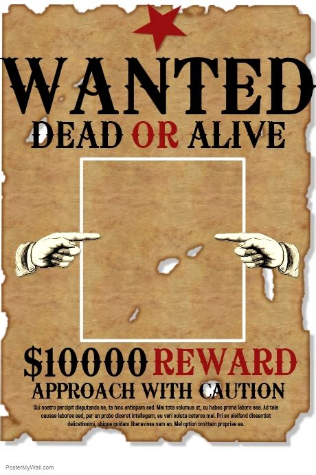 wanted dead or alive poster template free copy of wanted postermywall