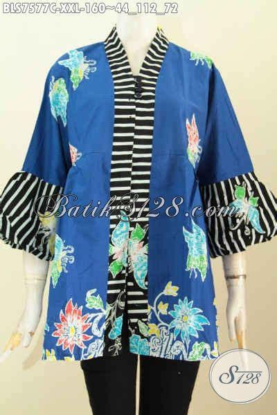 Blus Batik Biru Xl blus batik warna biru pakaian batik modern keren bahan