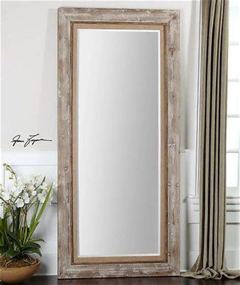 Distressed Wood Floor Mirror - country distressed wood leaning floor mirror 82