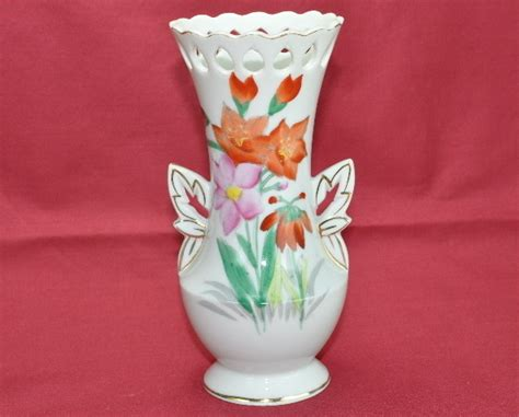 Occupied Japan Vase by Ucagco Occupied Japan Painted Flower Vase Gold