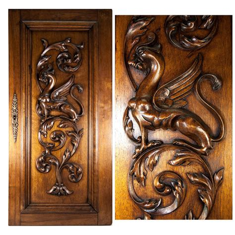 Carved Cabinet Doors Carved Antique Griffen Cabinet Door Wall Plaque Acanthus From Antiques Uncommon Treasure