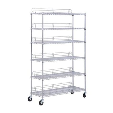honey can do 6 shelf steel shelving unit in chrome 48 in
