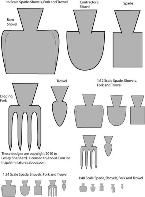 printable dollhouse scale shovels  garden tools