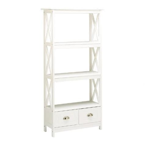 white x side bookcase with 2 drawers tree
