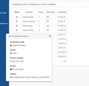 bootstrap popover custom template nested reports in oracle application express