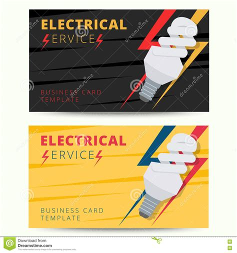 Business Cards Electrical Templates Free by Set Of Professional Electrician Business Card Template
