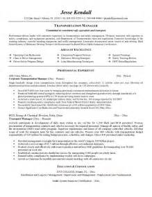 Transport Manager Sle Resume by Exle Transportation Manager Resume Free Sle