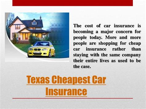 cheap house insurance in texas ppt texas cheapest car insurance powerpoint presentation