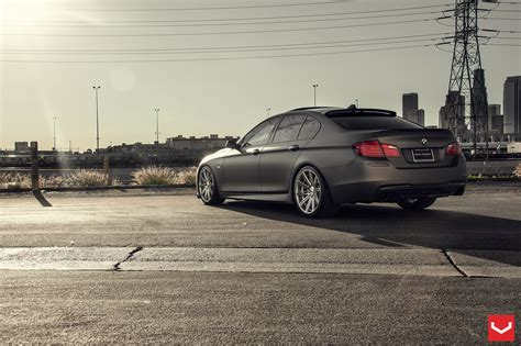 matte bmw matte black bmw 5 series on vossen wheels