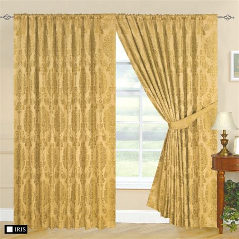 heavy gold curtains fully lined designer jacquard curtains with tie back anne