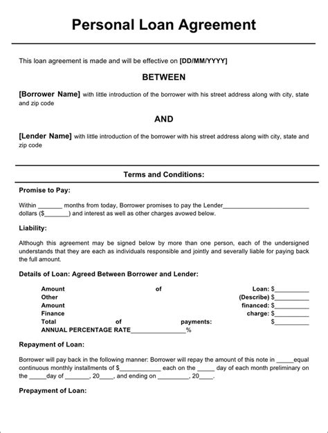 personal loan agreement form download free premium