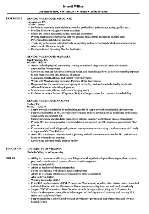 senior warehouse manager resume sle senior warehouse resume sles velvet