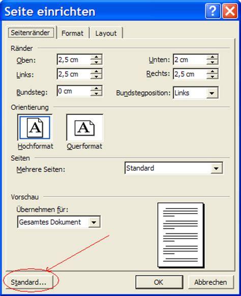 word layout querformat edv grundkurse