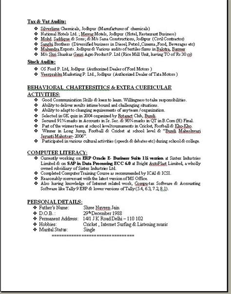 ca articleship resume 28 images amit cv ca inter with