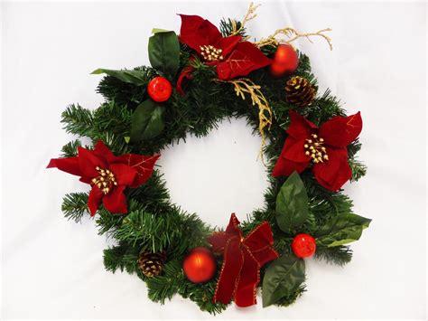 40cm poinsettia artificial wreath christmas decoration