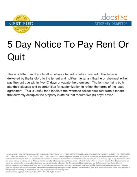 Pay Or Quit Notice Template best photos of 5 day notice to vacate 5 day eviction