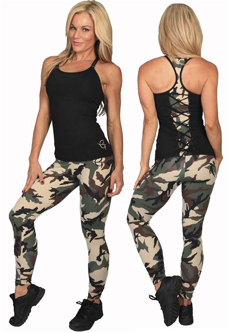 Womens Clothing by Equilibrium Activewear L751 Camo Workout