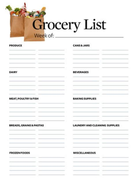 printable grocery list template word excel calendar