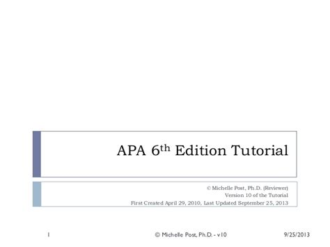 microsoft office apa 6th edition template apa 6th ed tutorial v10