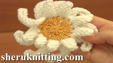 knitted flower pattern youtube how to knit a double layered daisy flower tutorial 16