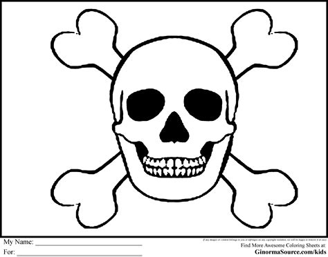 pirate coloring pages skull and bones pirates