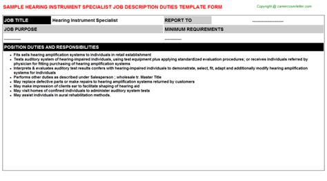 Hearing Instrument Specialist Cover Letter by Hearing Instrument Specialist Description Sle
