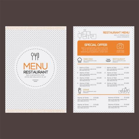 dining menu template free restaurant menu template vector free